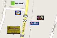 Map showing AutoCade, AutoMedic, Napa and other local businesses
